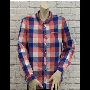 TOMMY HILFIGER BLUE PINK & WHITE CHECKED PRINT TOP